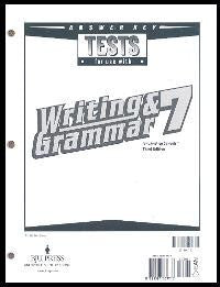BJU Press Writing & Grammar 7 Tests Answer Key, 3rd Ed.