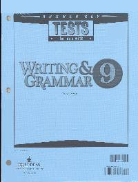 BJU Press Writing & Grammar 9 Tests Answer Key (3rd ed.)