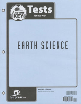 BJU Press Earth Science Tests Answer Key, 4th Ed