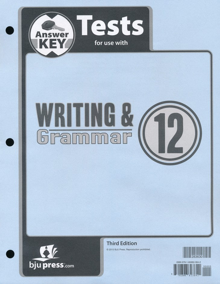 BJU Press Writing & Grammar 12 Tests Answer Key, 3rd Edition