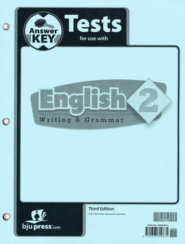BJU Press English 2 Test Answer Key, 3rd Edition