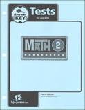 BJU Press Math 2 Tests Answer Key 4ed