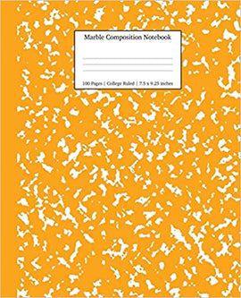 Composition Notebook- Orange Marble - College Ruled