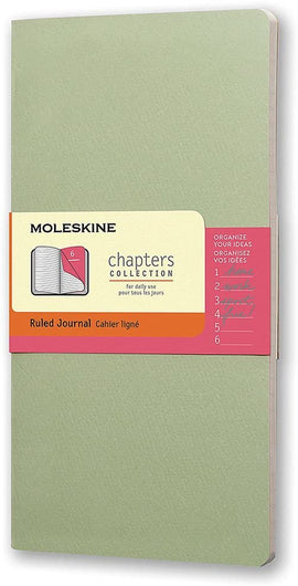 Moleskine Chapters Journal, Slim Medium, Ruled, Mist Green, Soft Cover (3.75 X 7)