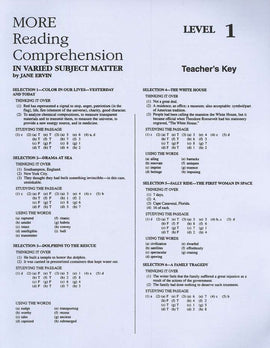 More Reading Comprehension - Level 1 Teacher's Answer Key