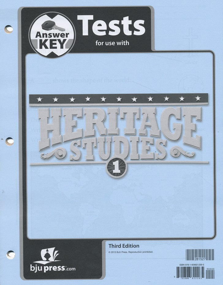 BJU Press Heritage Studies 1 Tests Answer Key, 3rd edition