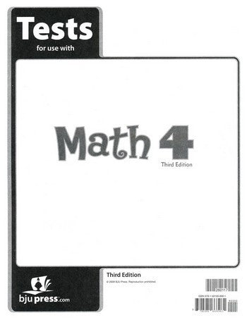 BJU Press Math 4 Tests Pack - 3rd Ed.