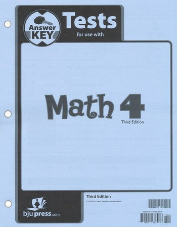 BJU Press Math 4 Tests Answer Key - 3rd Ed.
