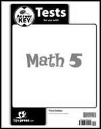 BJU Press Math 5 Tests Answer Key 3rd ed.