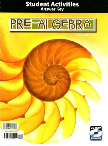 BJU Press Pre-Algebra Student Activities Answer Key(2nd ed)