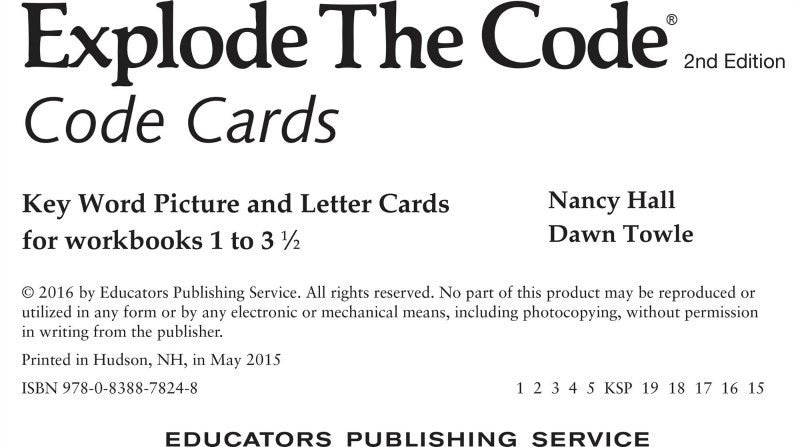Explode the Code: Code Cards - Grades K to 3, 2nd Edition