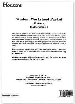 Horizons Math First Grade Student Worksheet Packet