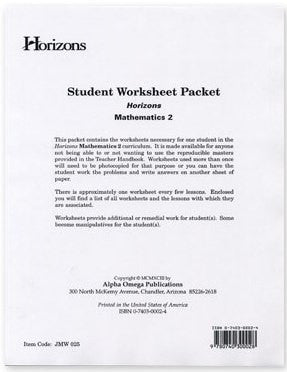 Horizons Math Second Grade Student Worksheet Packet