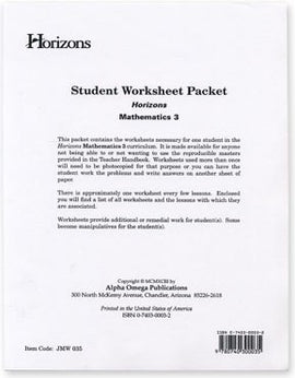 Horizons Math Third Grade Student Worksheet Packet