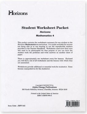 Horizons Math Fourth Grade Student Worksheet Packet