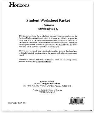 Horizons Math Kindergarten Student Worksheet Packet