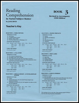 Reading Comprehension- Book 3 Answer Key