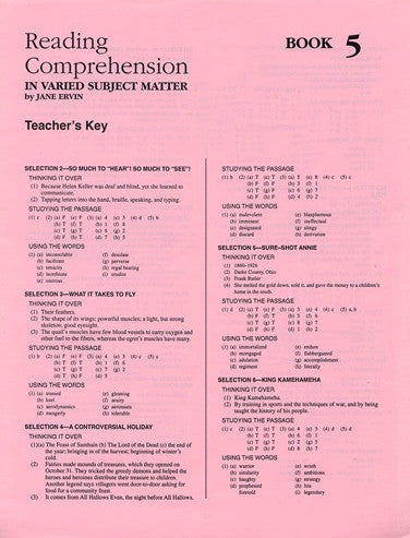Reading Comprehension- Book 5 Answer Key