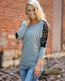 SALORA™ Lace Insert Long Sleeve Top