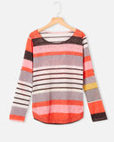 SALORA™ Striped Long Sleeve Buttoned Top