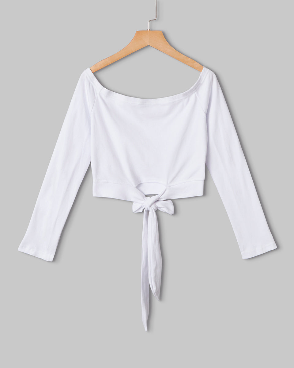 SALORA™ Off Shoulder Bow Tie Crop Top