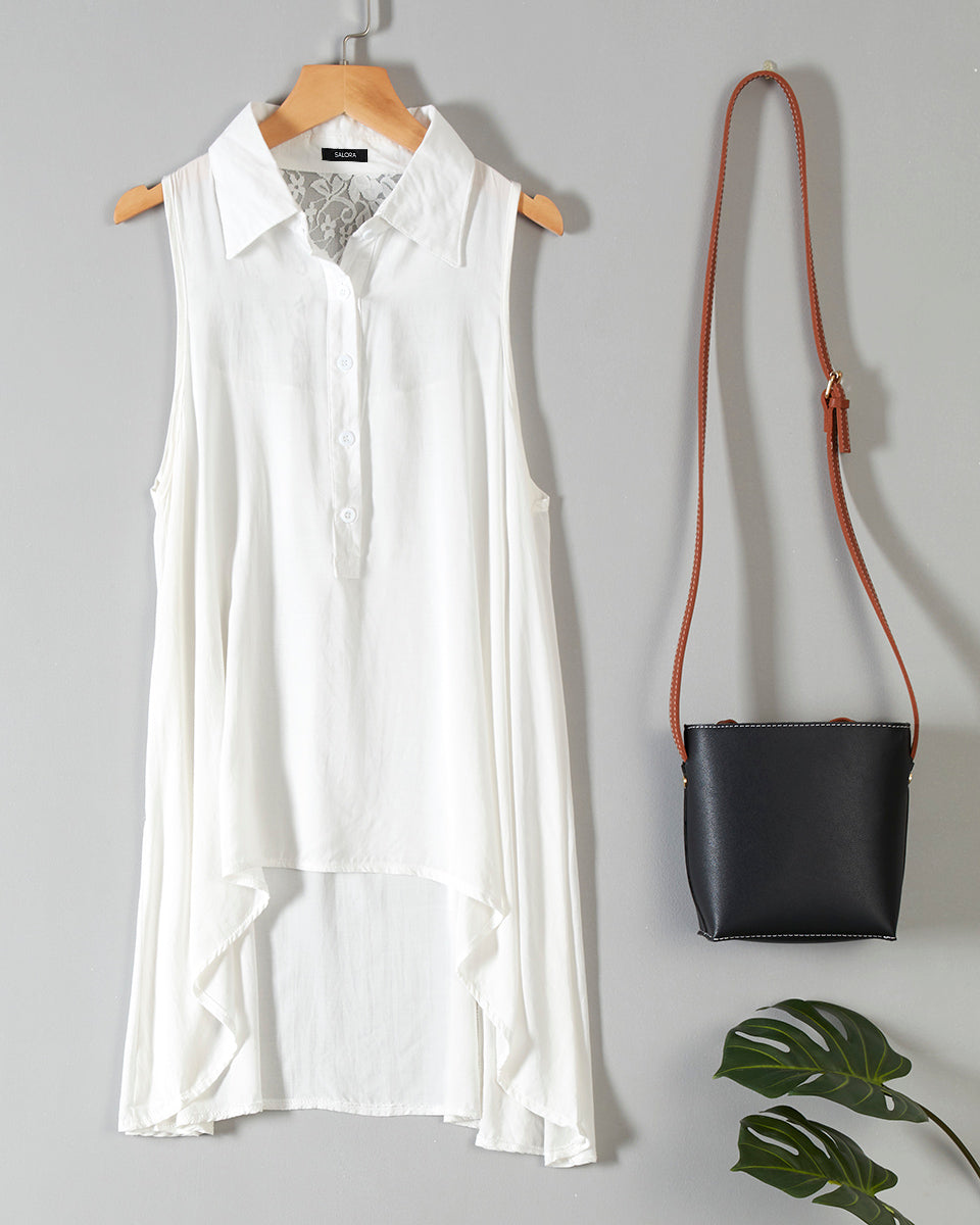 SALORA™ Longline Sleeveless Blouse
