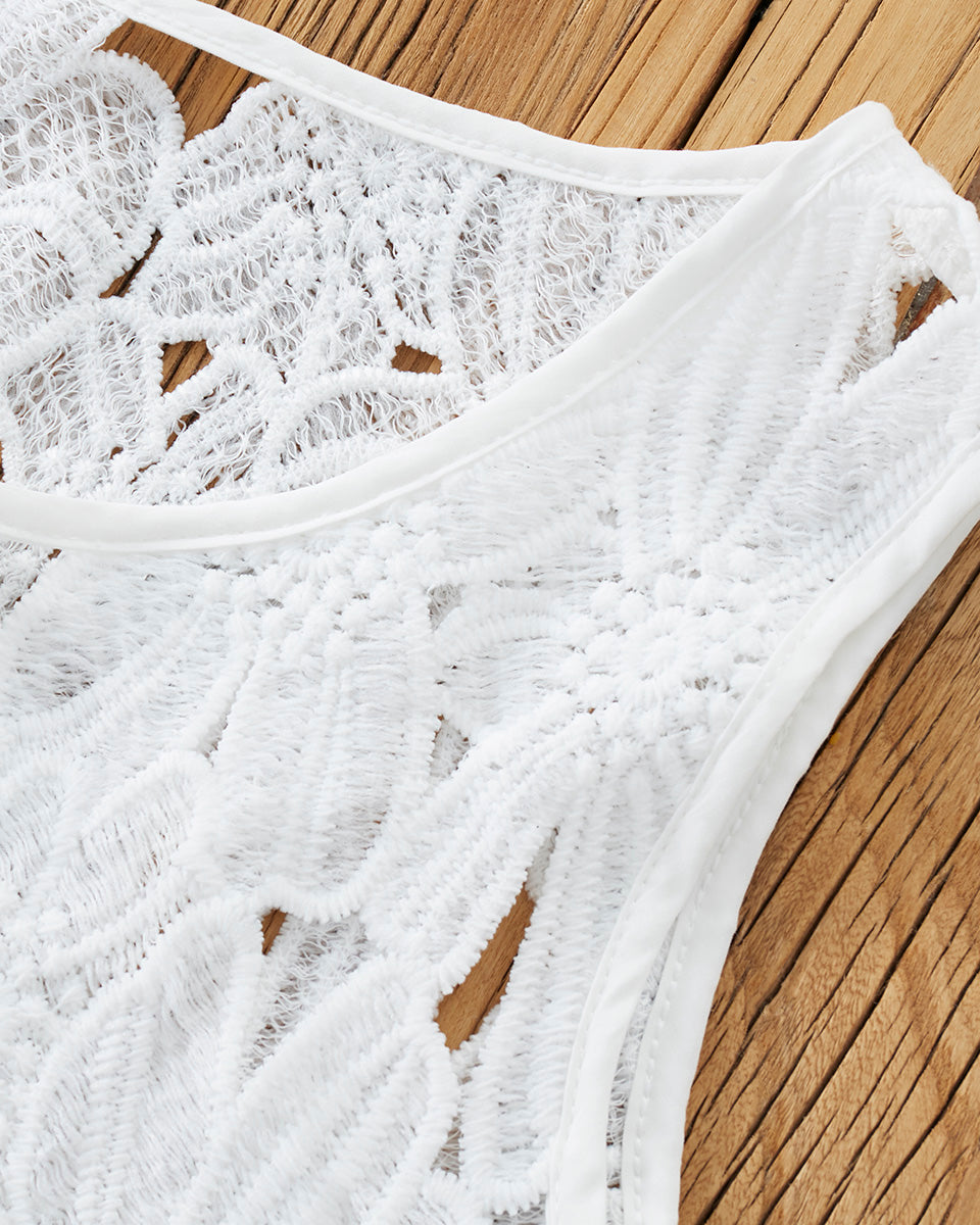 SALORA™ Crochet Lace Crop Top
