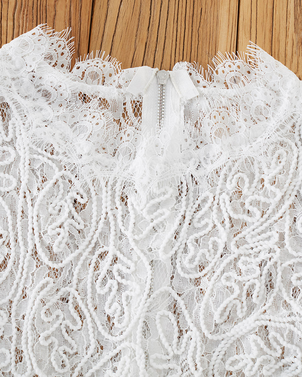 SALORA™ Elegant Embroidery Lace Top
