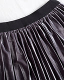SALORA™ Velvet Pleated Midi Skirt