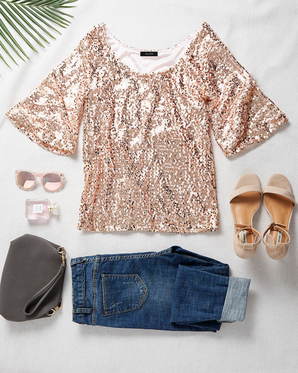 SALORA™ Off Shoulder Sequin Top