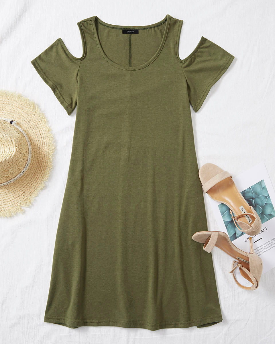 SALORA™ Cold Shoulder Tea Dress