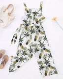SALORA™ Pineapple Print Sleeveless Wide Leg Jumpsuit