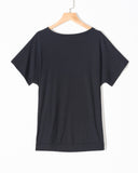 SALORA™ Short-Sleeved Crew Neck Side Button T-Shirt