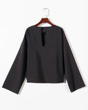 SALORA™ Bell Sleeve V Neck Top