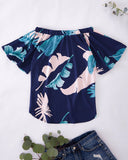SALORA™ Off The Shoulder Top in Bold Leaf Print