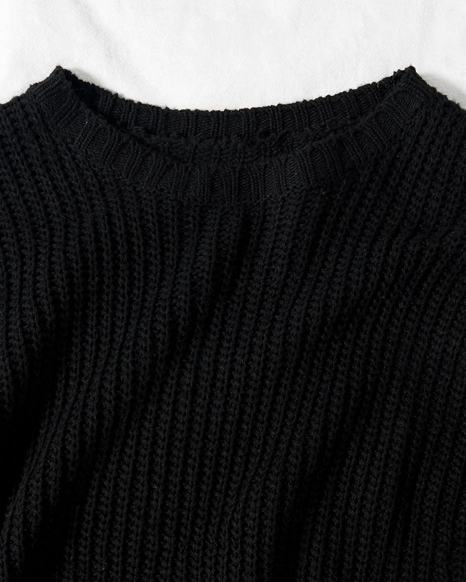 SALORA™ Chunky Ribbed Sweater Dress with Side Splits