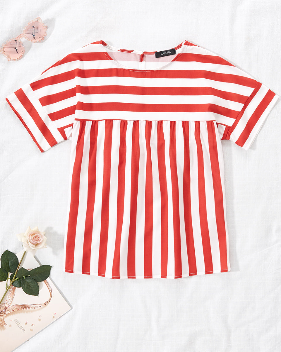 SALORA™ Femme Stripe Short Sleeve Top