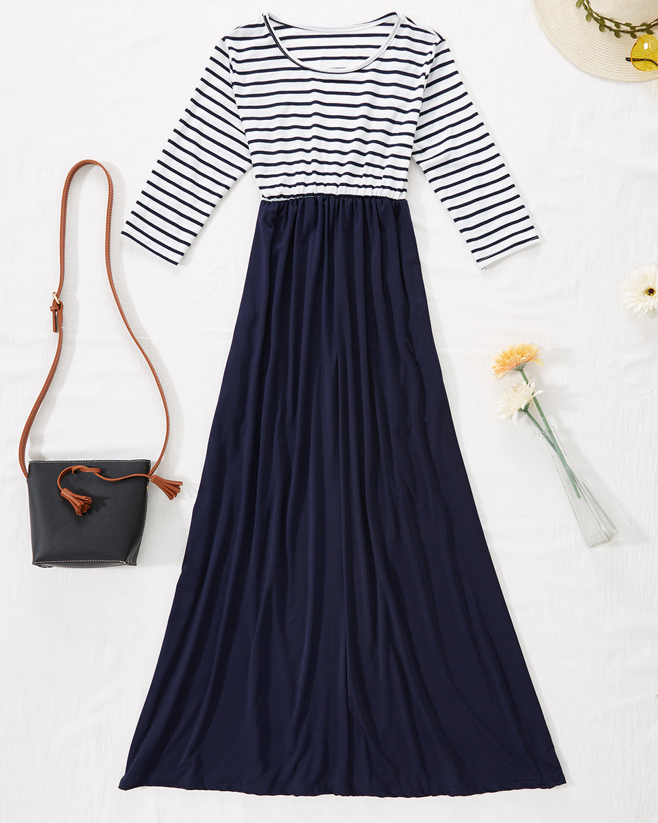 SALORA™ Dress with Stripe Top and Contrast Skirt