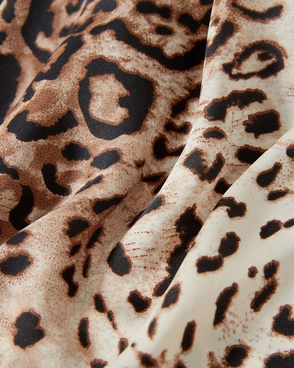 SALORA™ Leopard Print Shift Dress