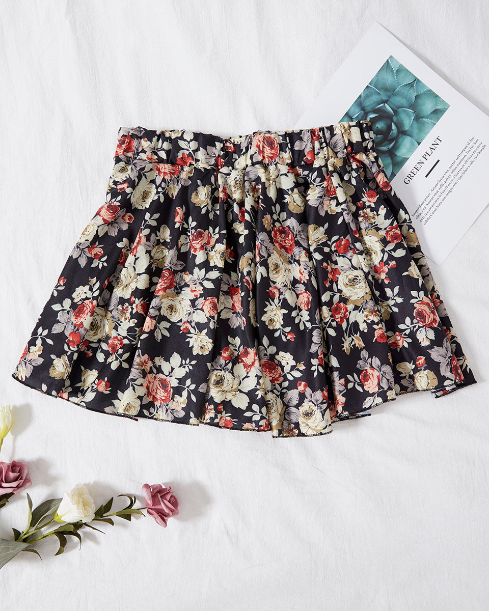 SALORA™ Floral Print Mini Skirt