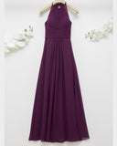 Halter Neck Lace Back Evening Gown
