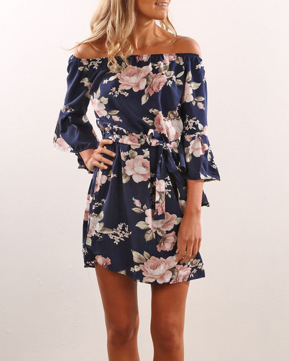 SALORA™ Flirty Floral Off Shoulder Mini Dress