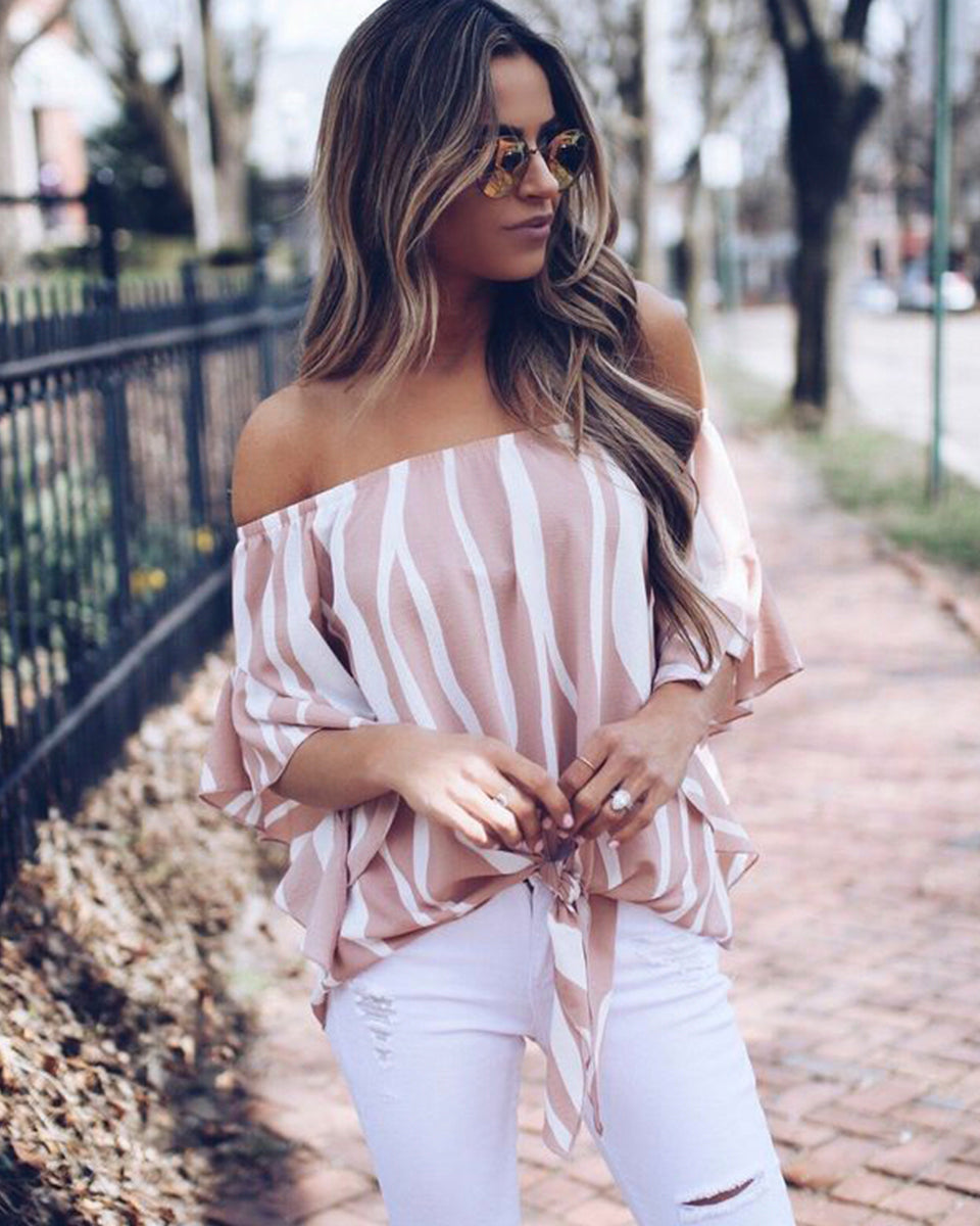 SALORA™ Off Shoulder Floaty Knot Tie Top
