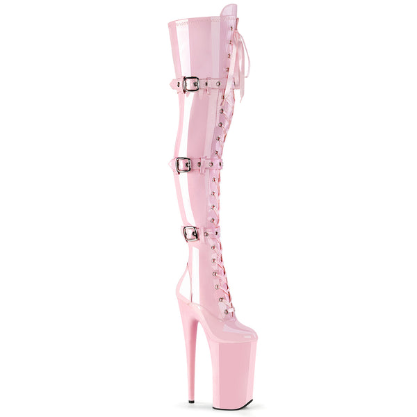 Strap /& Buckle Closures Pleaser Beyond 3028 Baby Pink Patent Thigh High Boots