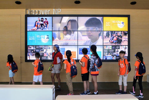 Tertiary Immersion Program giant interactive screen