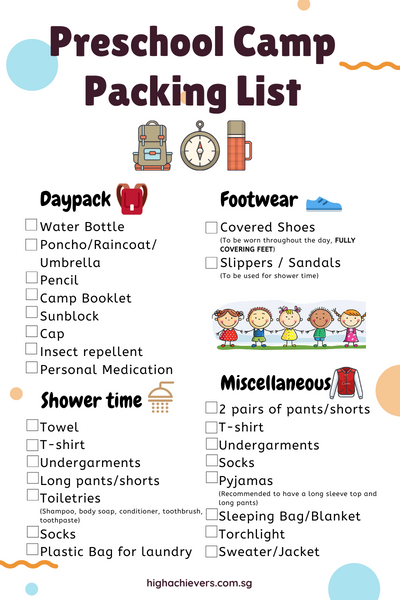 Packing List for Preschool camp