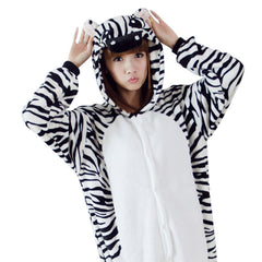 New Fashion Flannel Pajamas for Unisex Zebra Animal Home Furnishing Cartoon Onesies Winter Lovers Hooded Pajamas
