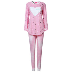 Women Pajama Sets Autumn Nightwear Long Sleeve O-Neck Cotton Stripe Heart Printed Lovely Sleepwear 3 Colors