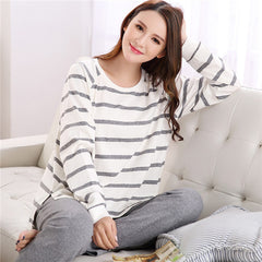 Couple Lounge Pyjama Femme O-neck Nightwear Female Pajama Sets For Women Men Knitted Cotton Pijamas Suit