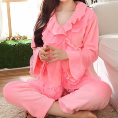 Women Winter Flannel Sleepwear Set 2017 Long Sleeve Coral Velvet Pajamas Sets Fashion Lace Thick Warm Nightwear